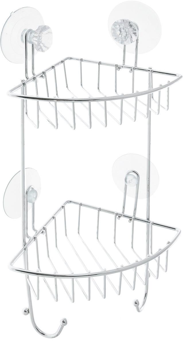 Полка для ванной Top Star Kristall, угловая, двухъярусная, на присосках, цвет: прозрачный, стальной, 14 х 19 х 34 см280884_прозрачныйУгловая полка для ванной Top Star Kristall изготовлена из стали с качественным хромированным покрытием, которое надолго защитит изделие от ржавчины в условиях высокой влажности в ванной комнате. Изделие имеет два яруса и крепится к стене с помощью четырех присосок. Снизу расположены два крючка для полотенец. Классический дизайн и оптимальная вместимость подойдет для любого интерьера ванной комнаты или кухни. Размер полки: 14 х 19 х 34 см.