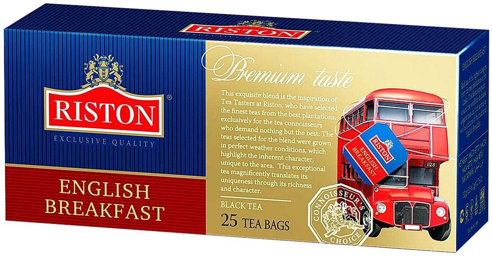 Riston Английский Завтрак черный чай в пакетиках, 25 шт4792156003672Riston Английский Завтрак - эксклюзивный сорт черного среднелистового цейлонского чая. При заваривании чай приобретает насыщенный темный цвет и нежный манящий аромат, вызывая в памяти утонченные традиции классического английского чаепития.
