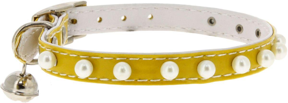 Ошейник для кошек Каскад Синтетик, двойной, с жемчугом и бубенчиком, цвет: желтый, ширина 10 мм, длина 30 см00210111-04
