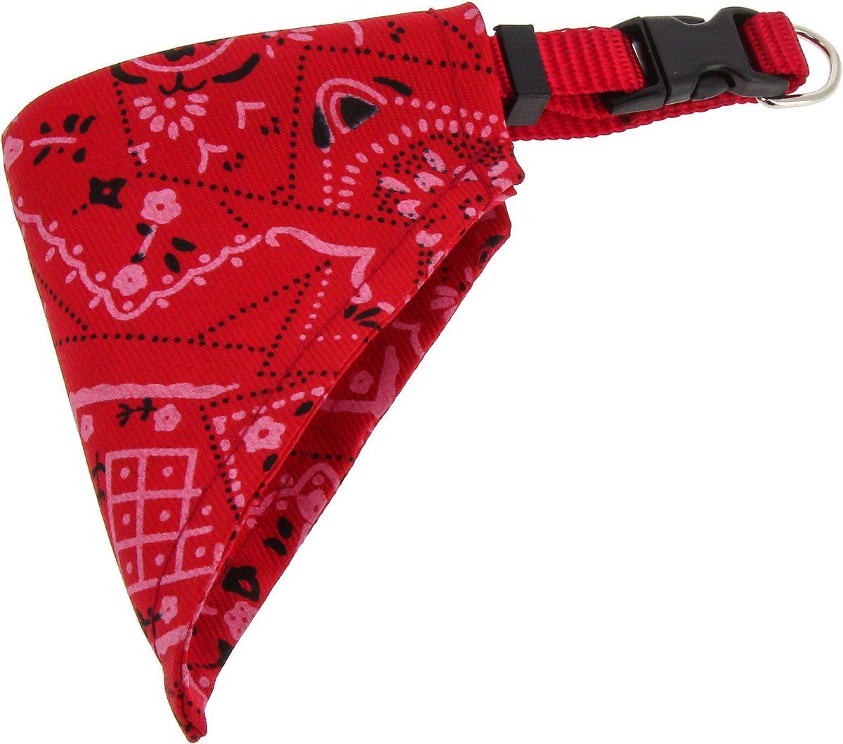 Ошейник для собак Каскад, с косынкой, цвет: красный, ширина 20 мм, длина 35-50 см00220041-02