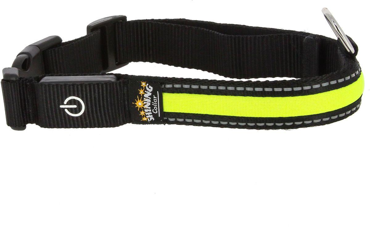 Ошейник для собак Каскад Мигающий, со светоотражающей лентой, цвет: лимонный, ширина 25 мм, длина 46-63 см48302340