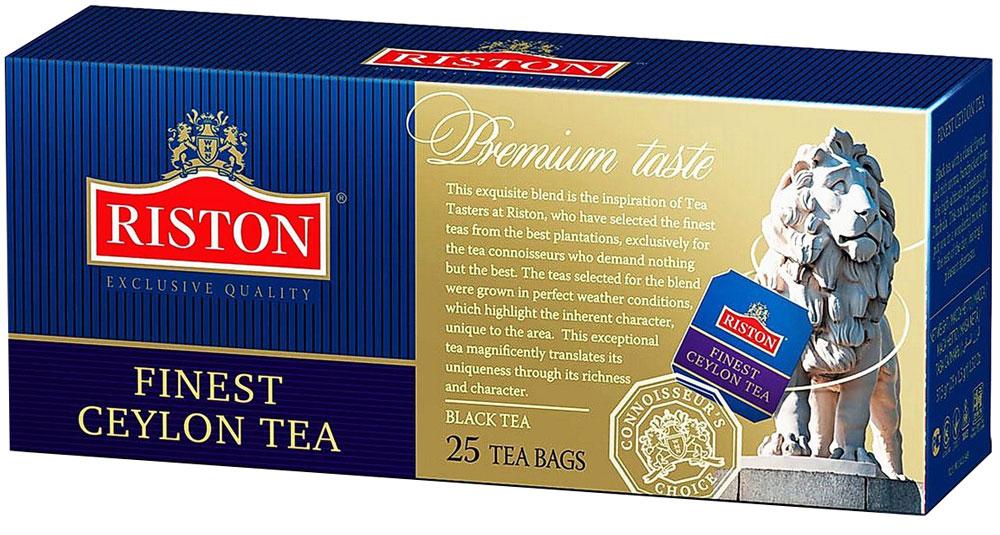 Riston Файнест Цейлон черный чай в пакетиках, 25 шт4792156001715Riston Файнест Цейлон - черный чай с классическим вкусом и богатым насыщенным ароматом, собранный на горных плантациях Димбулы (Цейлон), согревает наши мысли и дарит удивительное настроение на весь день. Оставляет долгое, необыкновенно приятное послевкусие. Стандарт BOPF.