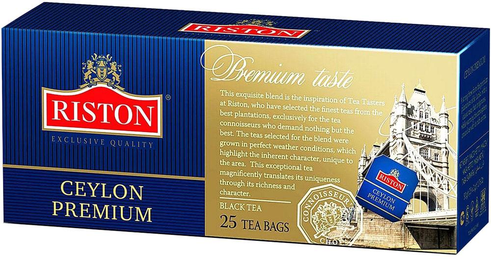 Riston Цейлонский Премиальный черный чай в пакетиках, 25 шт4792156000725Riston Цейлонский Премиальный - эксклюзивный сорт черного чая высшей категории, в состав которого входят только верхние листочки, собранные на элитных плантациях Шри-Ланки. Этот крепкий настой с мягким, деликатным вкусом и насыщенным ароматом создает отличный настрой на весь день.