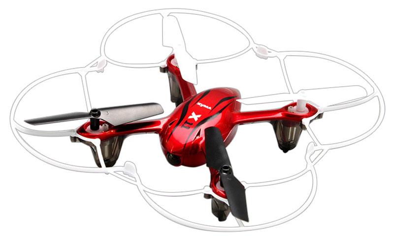 Syma Квадрокоптер на радиоуправлении X11 цвет красныйX11 redВеликолепный квадрокоптер от Syma станет вашим неразлучным спутником повсюду. Квадрокоптер X11 может последовать с вами в путешествие по горам, способен пролететь над морской гладью, степью или городским парком. Для защиты от повреждений X11 имеет у себя в арсенале защитный круг из пластика. Для того чтобы не потерять X11 в темное время суток предусмотрена яркая и красивая система подсветки. Благодаря ей управлять квадракоптером в ночное время суток так же легко и просто как и в дневное, а красочный поблескивающий свет обеспечит этому летательному аппарату повышенное внимание со стороны окружающих. В полете X11 способен пробыть около 6-8 минут, а работает он на привычной частоте 2,4 Гц.