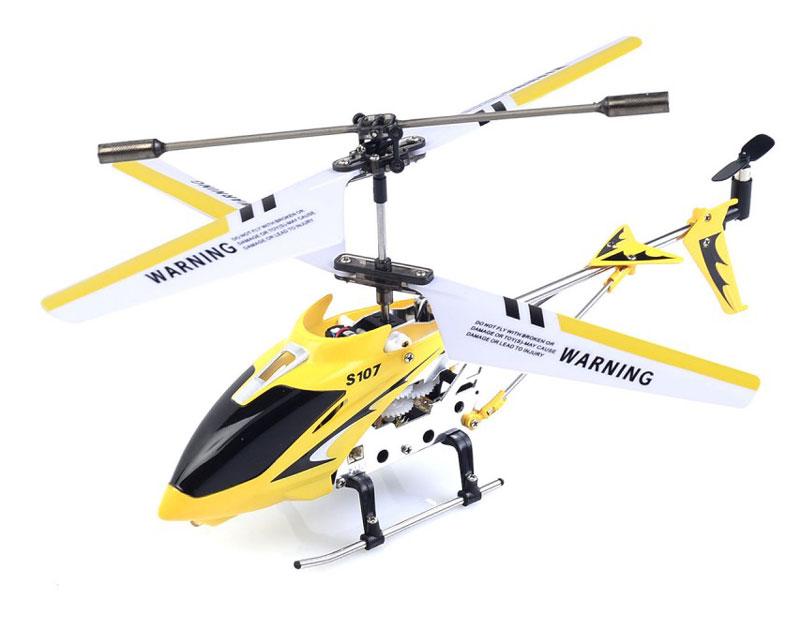 Syma Вертолет на радиоуправлении S107G цвет желтыйS107G yellowРадиоуправляемый вертолет SYMA S107G — превосходная игрушка для начинающих пилотов. Он сохраняет устойчивость в полете, отзывчивый на команды с пульта и маневренный. Эти качества достигаются за счет встроенного гироскопа и трехканальной системы управления. Движения вперед и назад обеспечивает задний винт, смещающий центр тяжести. Также игрушка может вращаться вокруг своей оси.