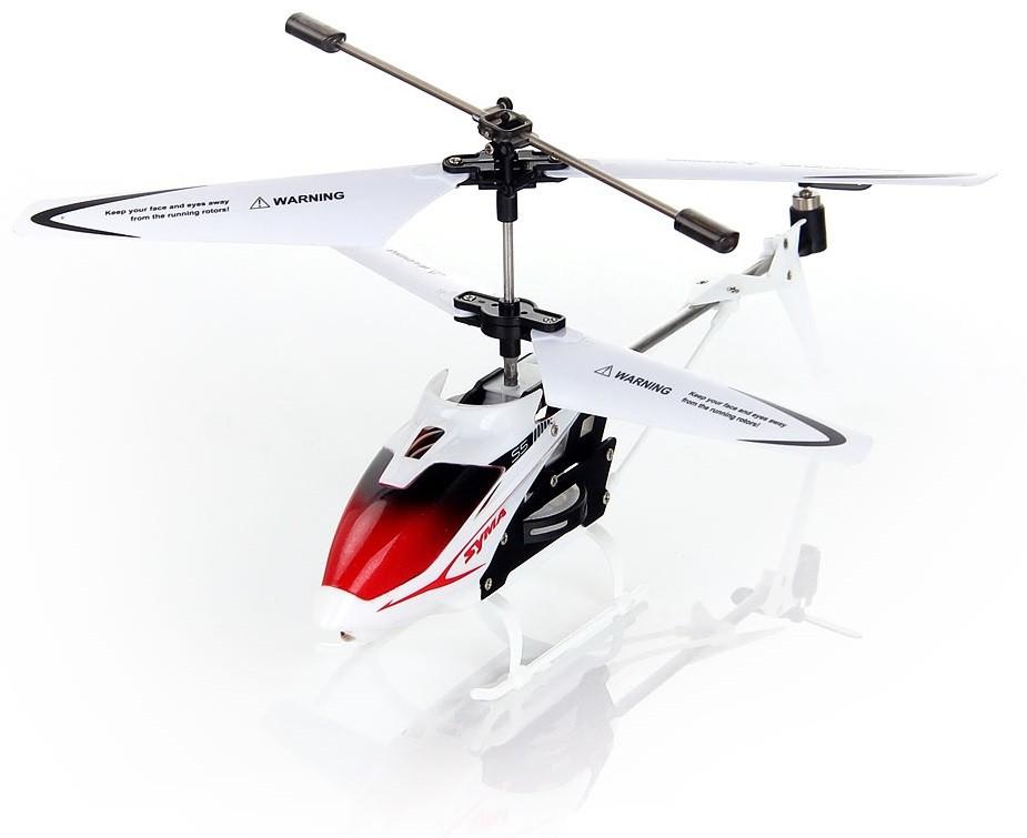 Syma Вертолет на радиоуправлении S5 цвет белыйS5 whiteВертолет на радиоуправлении Syma S5 с 3-канальным пультом управления - это новая модель мини вертолета от известного производителя SYMA. По летным характеристикам он сопоставим с уже известным и отлично зарекомендовавшем себя радиоуправляемым вертолетом SYMA 107G. Модель - гражданского типа, основа вертолета выполнена из металла, гибкий цветной корпус, гибкие лопасти, прочные шасси, на корпусе расположен светодиод, который делает модель более красочной. Особенностью прочности вертолета является дополнительная защита из металла основного вала с шестеренками. Вертолет подходит для детей от 14 лет, в таком возрасте ребенок самостоятельно может управлять вертолетом. Похожие товары