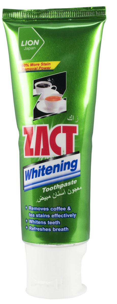 LionThailand Zact Паста зубная отбеливающая, 100 гр805064Страдаете от табачного и кофейного налета на зубах? Зубная паста Zact способна решить эту проблему., Паста с инновационной формулой NZS с ионами флюорита эффективно очищает зубы от кофейного и табачного налета., В пасте Zact на 60% больше очищающих компонентов, чем в других зубных пастах., За счет этого паста с каждой чисткой зубов преображает Вашу улыбку, делая зубы белее, а дыхание более свежим., Паста Zact предотвращает появление кариеса и дальнейшее потемнение зубной эмали., Рекомендуется для ежедневного ухода за полостью рта., Способ применения: чистить зубы не менее 3х минут, последовательно обрабатывая наружные, жевательные и внутренние поверхности всех зубов., Меры предосторожности: при возникновении аллергической реакции прекратите использование средства и проконсультируйтесь со специалистом., Способ хранения: хранить в прохладном сухом месте., Состав: вторичнокислый фосфат кальция, оксид алюминия (чистящий/полирующий компонент), сорбитол, пропиленгликоль,...