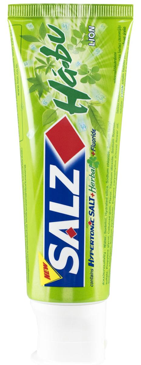 LionThailand Salz Habu Паста зубная, 90 гр015784Инновационная формула зубной пасты «All Protection» обеспечивает комплексную защиту и уход за полостью рта., Зубная паста Salz содержит несколько активных компонентов: гипертоническую соль, коэнзим Q10 и фтор, а также Habunochikara - эфирное масло японского растения для защиты полости рта и устранения неприятного запаха., Прекрасно освежает дыхание., -Натуральный эфирный экстракт (Habunochikara) способствует профилактике заболеваний полости рта, повышая здоровье зубов и десен., -Концентрированное содержание гипертонической соли укрепляет десна и уменьшает количество бактерий, которые являются причиной появления неприятного запаха изо рта., -Коэнзим Q10, являясь антиоксидантом, надежно защищает полость рта и десна., -Фтор предупреждает развитие кариеса и улучшает состояние зубной эмали., Способ применения: чистить зубы не менее 3х минут, последовательно обрабатывая наружные, жевательные и внутренние поверхности всех зубов., Меры предосторожности: хранить в...