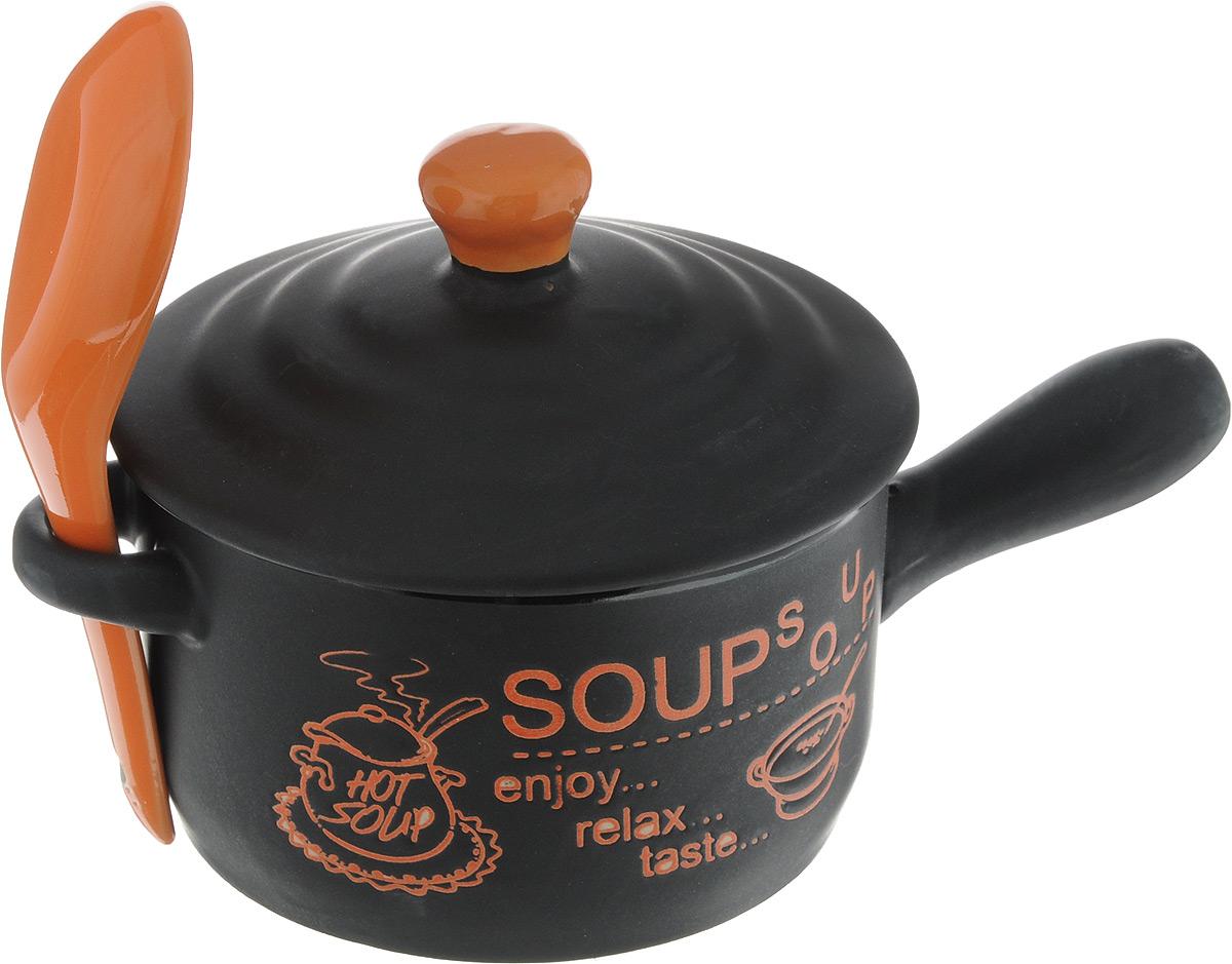 Супница Bekker, с ложкой, цвет: черный, оранжевый, 400 млBK-7306_черный, оранжевыйСупница Bekker, выполнена из высококачественной керамики. Изделие оснащено удобными ручками. Супница достаточно вместительна, поэтому прекрасно подойдет для подачи жидких блюд вместо обычной глубокой тарелки. Яркий дизайн и эстетичные формы украсят интерьер кухни и порадуют вас и ваших гостей. Он настроит на позитивный лад и подарит хорошее настроение. Набор является экологически безопасным, так как не содержит кадмия и свинца. Пригоден для использования в микроволновой печи, холодильнике. Можно мыть в посудомоечной машине. Супница Bekker - идеальный и необходимый подарок для вашего дома и для ваших друзей. Она станет украшением любой кухни. Диаметр супницы (по верхнему краю): 10 см. Высота (без крышки): 6 см. Длина ложки: 13 см. Ширина рабочей части: 4 см.