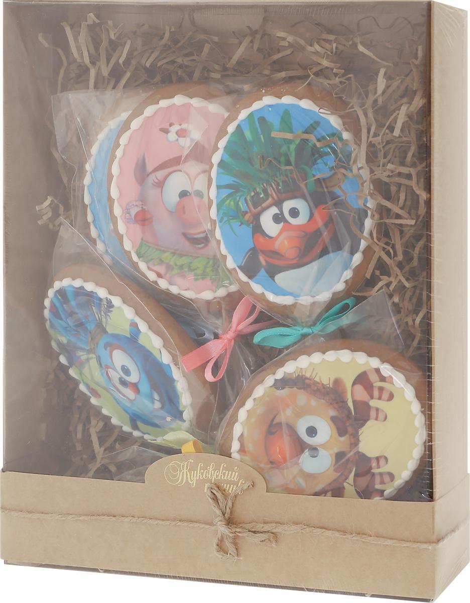 Жуковский пряник Подарочный набор Смешарики, 5 шт00-00002408Медово-имбирные пряники с росписью из айсинга. Чудесный набор пряного, медово-имбирного печенья, с веселым, красивейшим декором , созданный специально для вас и ваших любимых! Набор таких пряничков непременно порадует ваших близких и станет отличным подарком к любому празднику! Уважаемые клиенты! Обращаем ваше внимание, что полный перечень состава продукта представлен на дополнительном изображении.