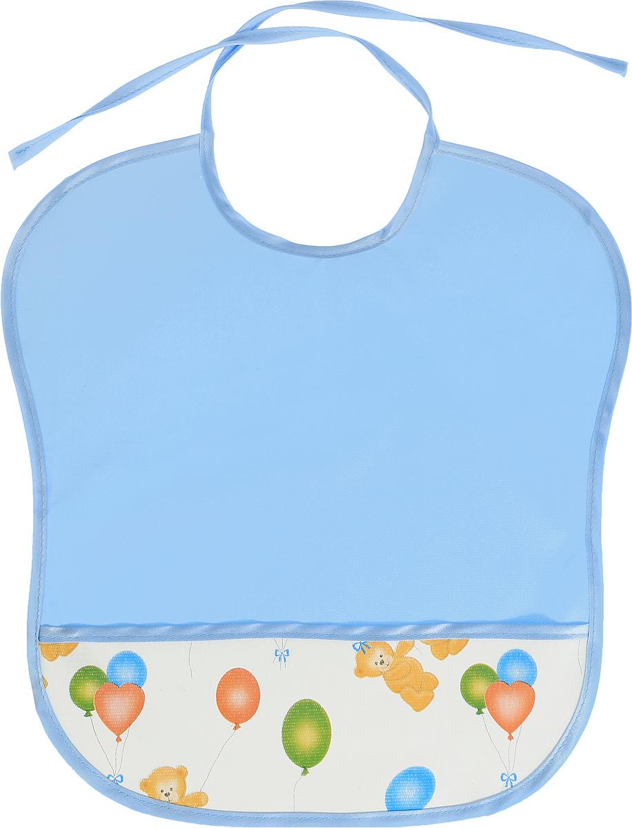 Колорит Нагрудник защитный с карманом Мишки с шариками цвет голубой белый 33 х 33 см