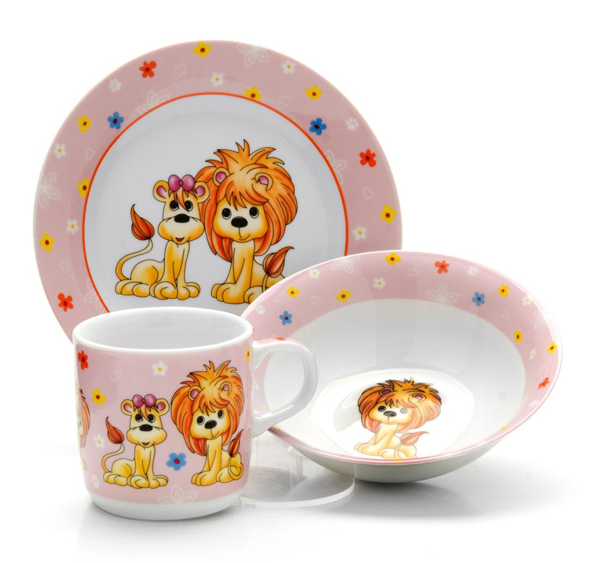 Набор детской посуды Loraine Лев, 3 предмета26097