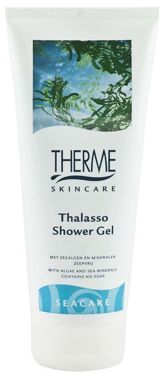 Therme Гель для душа Талассо, 200 мл61602Содержит ингредиенты морского происхождения-минералы и морские водоросли, как источники интенсивного питания для кожи, которые также оказывают антиоксидантное действие. pH нейтрален.