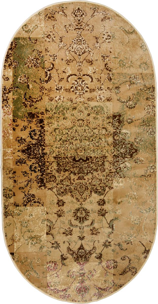 Ковер Mutas Carpet Силк, овальный, цвет: бежевый, коричневый, зеленый, 80 х 150 см203420130212182246Ковер Mutas Carpet Силк изготовлен из прочного полипропилена. Полипропилен износостоек, нетоксичен, не впитывает влагу, не провоцирует аллергию. Структура волокна в полипропиленовых коврах гладкая, поэтому грязь не будет въедаться и скапливаться на ворсе. Практичный и износоустойчивый ворс не истирается и не накапливает статическое электричество. Ковер обладает хорошими показателями теплостойкости и шумоизоляции. Оригинальный рисунок позволит гармонично оформить интерьер комнаты, гостиной или прихожей. За счет невысокого ворса ковер легко чистить. При надлежащем уходе синтетический ковер прослужит долго, не утратив ни яркости узора, ни блеска ворса, ни упругости. Самый простой способ избавить изделие от грязи - пропылесосить его с обеих сторон (лицевой и изнаночной). Влажная уборка с применением шампуней и моющих средств не противопоказана. Хранить рекомендуется в свернутом рулоном виде.
