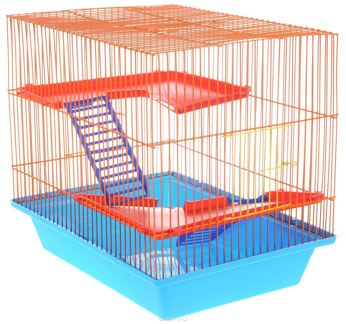 Клетка для грызунов ЗооМарк Гризли, 3-этажная, цвет: синий поддон, оранжевая решетка, красные этажи, 41 х 30 х 36 см230СОКлетка ЗооМарк Гризли, выполненная из полипропилена и металла, подходит для мелких грызунов. Изделие трехэтажное. Клетка имеет яркий поддон, удобна в использовании и легко чистится. Сверху имеется ручка для переноски. Такая клетка станет уединенным личным пространством и уютным домиком для маленького грызуна.