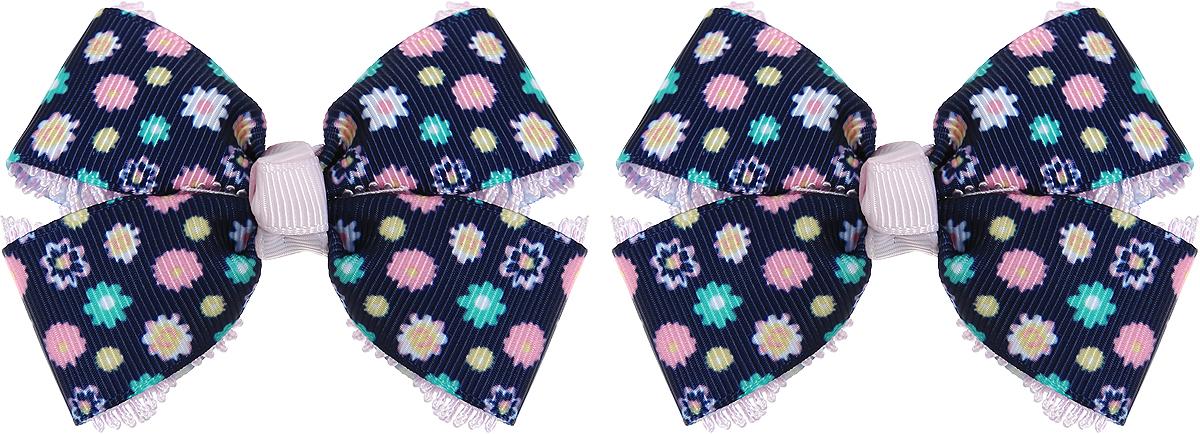 Baby's Joy Резинка для волос с бантиком Школа цвет черный зеленый розовый 2 шт MN 134/2_черный, зеленый, розовый, цветы