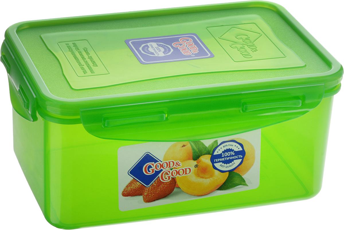 Контейнер для пищевых продуктов Good&Good, цвет: зеленый, 1,5 л. 3-23-2_зеленыйКонтейнер Good&Good, изготовленный из высококачественного полипропилена, предназначен для хранения любых пищевых продуктов. Крышка с силиконовой вставкой герметично защелкивается специальным механизмом. Изделие устойчиво к воздействию масел и жиров, легко моется. Полупрозрачные стенки позволяют видеть содержимое. Контейнер имеет возможность хранения продуктов глубокой заморозки, обладает высокой прочностью. Контейнер Good&Good удобен для ежедневного использования в быту. Можно мыть в посудомоечной машине и использовать в холодильнике и микроволновой печи. Размер контейнера (с учетом крышки): 13,5 х 20 х 9 см.