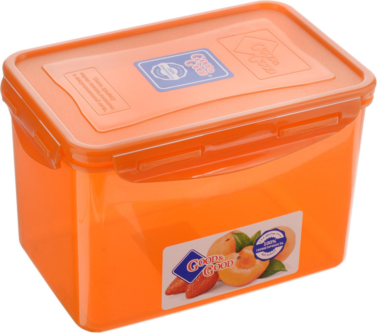 Контейнер для пищевых продуктов Good&Good, 2,2 л. 3-33-3_оранжевыйКонтейнер Good&Good, изготовленный из высококачественного полипропилена, предназначен для хранения любых пищевых продуктов. Крышка с силиконовой вставкой герметично защелкивается специальным механизмом. Изделие устойчиво к воздействию масел и жиров, легко моется. Полупрозрачные стенки позволяют видеть содержимое. Контейнер имеет возможность хранения продуктов глубокой заморозки, обладает высокой прочностью. Контейнер Good&Good удобен для ежедневного использования в быту. Можно мыть в посудомоечной машине и использовать в холодильнике и микроволновой печи. Размер контейнера (с учетом крышки): 13,5 х 20 х 13 см.
