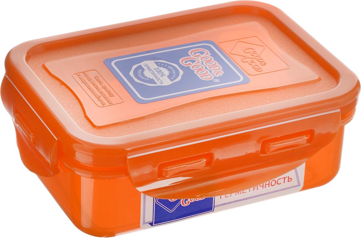 Контейнер пищевой Good&Good, цвет: оранжевый, 330 мл02-1 OПрямоугольный контейнер Good&Good изготовлен из высококачественного полипропилена и предназначен для хранения любых пищевых продуктов. Благодаря особым технологиям изготовления, лотки в течение времени службы не меняют цвет и не пропитываются запахами. Крышка с силиконовой вставкой герметично защелкивается специальным механизмом. Контейнер Good&Good удобен для ежедневного использования в быту. Можно мыть в посудомоечной машине и использовать в микроволновой печи. Размер контейнера (с учетом крышки): 13 х 10 х 4,5 см.