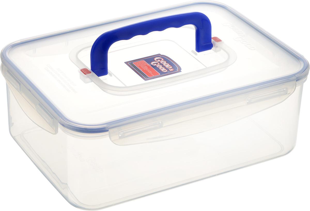 Контейнер пищевой Good&Good, с ручкой, цвет: прозрачный, синий, 3,3 л5-1Прямоугольный контейнер Good&Good изготовлен из высококачественного полипропилена и предназначен для хранения любых пищевых продуктов. Благодаря особым технологиям изготовления, лотки в течение времени службы не меняют цвет и не пропитываются запахами. Крышка с силиконовой вставкой герметично защелкивается специальным механизмом. Контейнер Good&Good удобен для ежедневного использования в быту. Можно мыть в посудомоечной машине и использовать в микроволновой печи. Размер контейнера (с учетом крышки): 26 х 19 х 10 см.