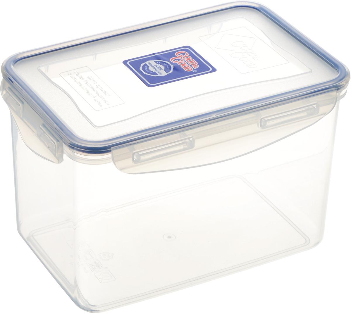 Контейнер пищевой Good&Good, цвет: прозрачный, темно-синий, 2,2 л3-3_прозрачный, темно-синийПрямоугольный контейнер Good&Good изготовлен из высококачественного полипропилена и предназначен для хранения любых пищевых продуктов. Благодаря особым технологиям изготовления, лотки в течение времени службы не меняют цвет и не пропитываются запахами. Крышка с силиконовой вставкой герметично защелкивается специальным механизмом. Контейнер Good&Good удобен для ежедневного использования в быту. Можно мыть в посудомоечной машине и использовать в микроволновой печи. Размер контейнера (с учетом крышки): 20 х 13,5 х 13 см.