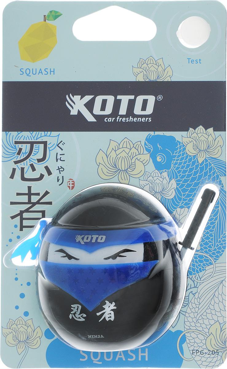 Ароматизатор автомобильный Koto Ниндзя. Squash, гелевый, 45 млFPG-205Автомобильный ароматизатор Koto Ниндзя. Squash эффективно устраняет неприятные запахи и придает приятный аромат цитрусовых. Сочетание геля с парфюмами наилучшего качества обеспечивает устойчивый запах. Кроме того, ароматизатор обладает элегантным дизайном. Изделие можно разместить на горизонтальной поверхности, используя двухсторонний скотч.