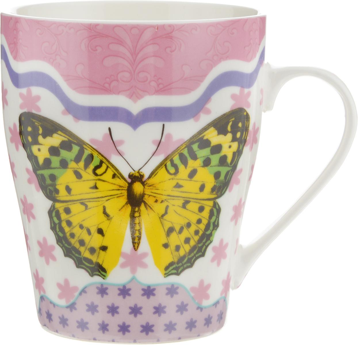 Кружка Loraine Бабочка, цвет: белый, желтый, розовый, 340 мл. 2445424454_белый, желтый, розовыйКружка Loraine Бабочка изготовлена из прочного качественного костяного фарфора. Изделие оформлено красочным рисунком. Благодаря своим термостатическим свойствам, изделие отлично сохраняет температуру содержимого - морозной зимой кружка будет согревать вас горячим чаем, а знойным летом, напротив, радовать прохладными напитками. Такой аксессуар создаст атмосферу тепла и уюта, настроит на позитивный лад и подарит хорошее настроение с самого утра. Это оригинальное изделие идеально подойдет в подарок близкому человеку. Диаметр (по верхнему краю): 8,2 см. Высота кружки: 10 см. Объем: 340 мл.