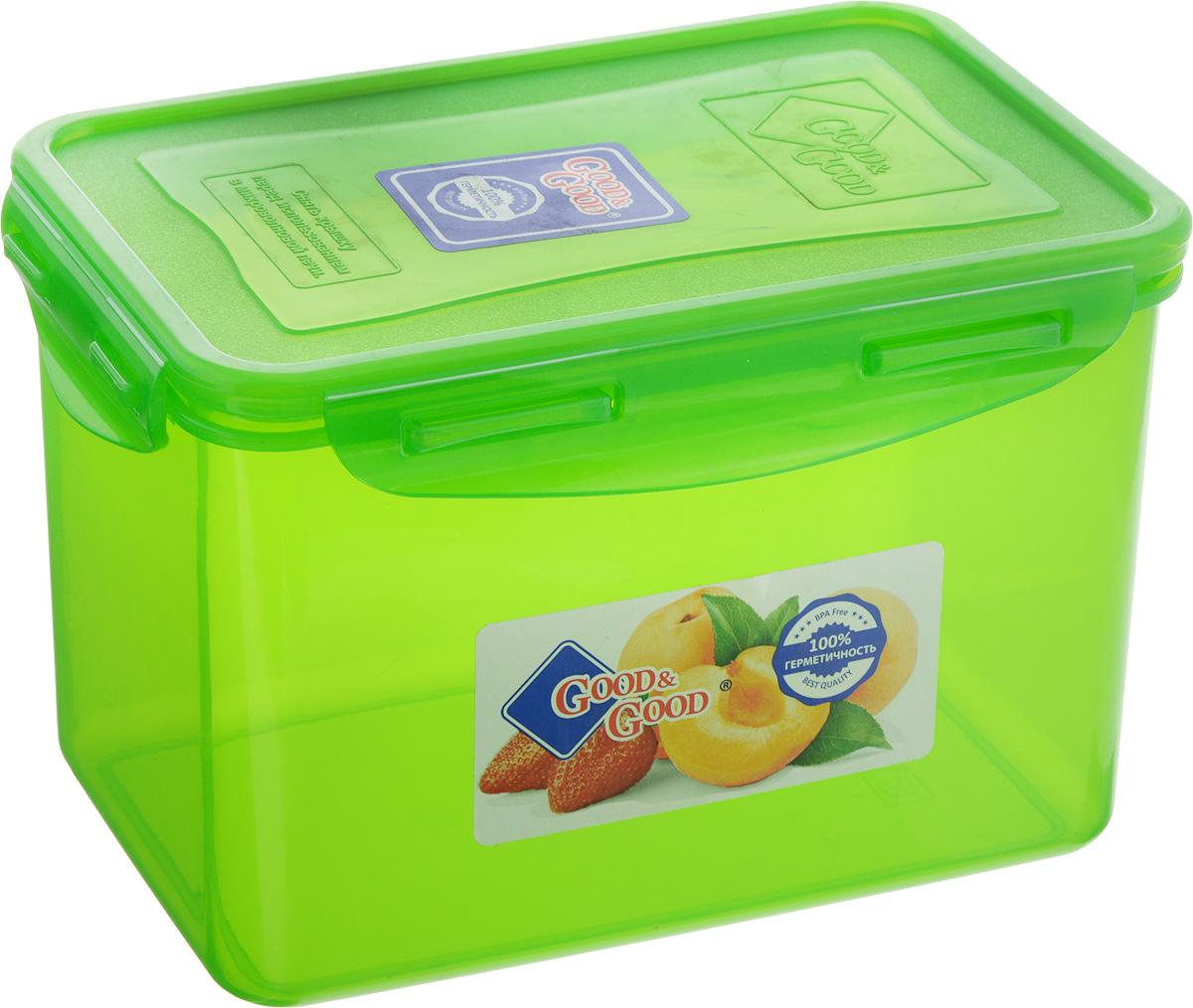 Контейнер пищевой Good&Good, цвет: зеленый, 2,2 л3-3/COLORS_зеленыйПрямоугольный контейнер Good&Good изготовлен из высококачественного полипропилена и предназначен для хранения любых пищевых продуктов. Благодаря особым технологиям изготовления, лотки в течение времени службы не меняют цвет и не пропитываются запахами. Крышка с силиконовой вставкой герметично защелкивается специальным механизмом. Контейнер Good&Good удобен для ежедневного использования в быту. Можно мыть в посудомоечной машине и использовать в микроволновой печи. Размер контейнера (с учетом крышки): 20 х 13,5 х 13 см.