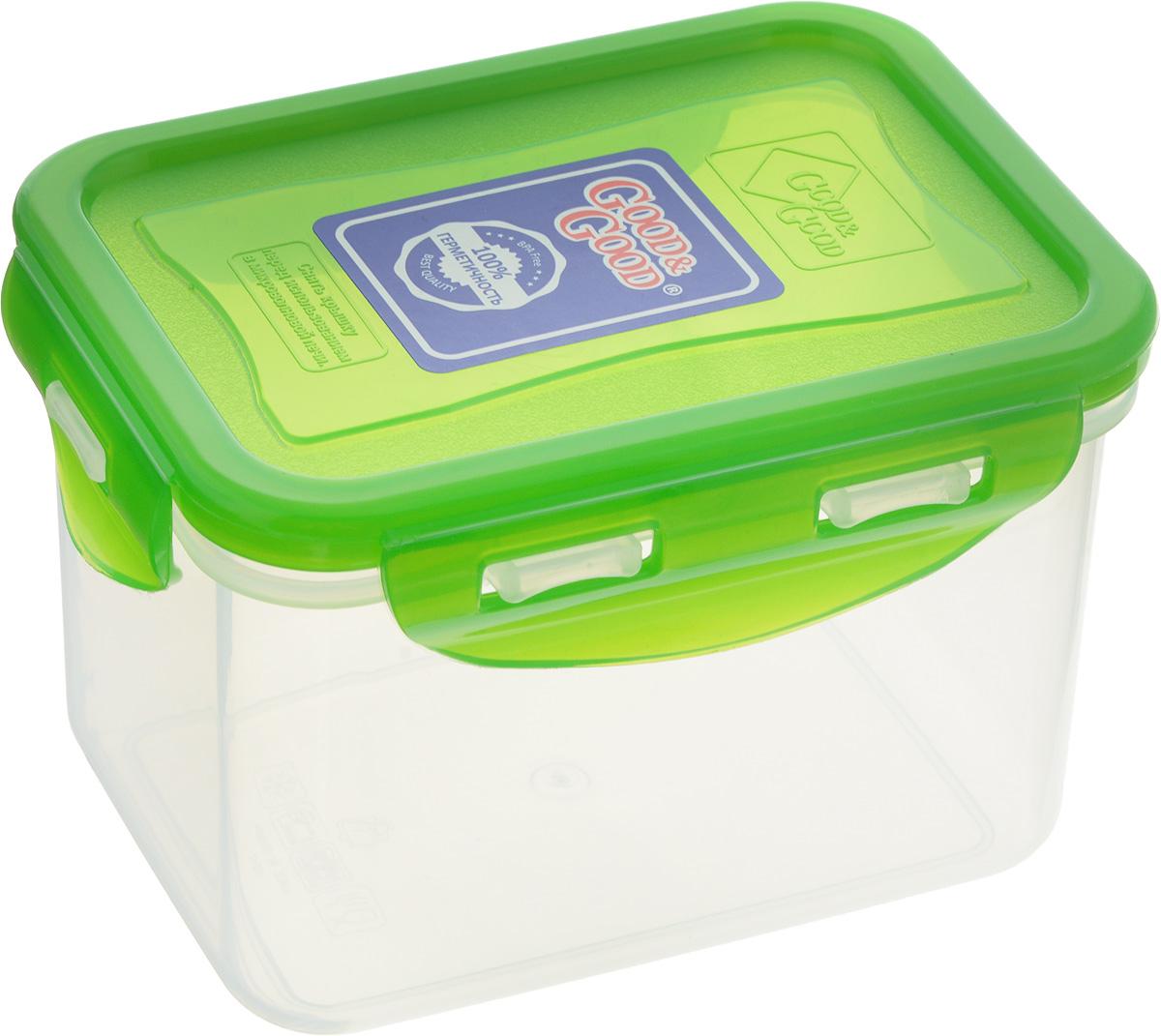 Контейнер пищевой Good&Good, цвет: прозрачный, зеленый, 630 мл02-2/LIDCOL_зеленыйПрямоугольный контейнер Good&Good изготовлен из высококачественного полипропилена и предназначен для хранения любых пищевых продуктов. Благодаря особым технологиям изготовления, лотки в течение времени службы не меняют цвет и не пропитываются запахами. Крышка с силиконовой вставкой герметично защелкивается специальным механизмом. Контейнер Good&Good удобен для ежедневного использования в быту. Можно мыть в посудомоечной машине и использовать в микроволновой печи. Размер контейнера (с учетом крышки): 13 х 10 х 8,5 см.