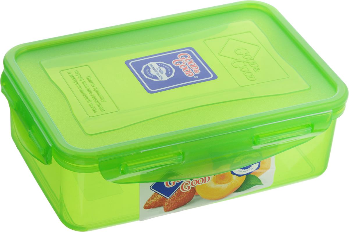 Контейнер пищевой Good&Good, цвет: зеленый, 1,1 л3-1/COLORS_зеленыйПрямоугольный контейнер Good&Good изготовлен из высококачественного полипропилена и предназначен для хранения любых пищевых продуктов. Благодаря особым технологиям изготовления, лотки в течение времени службы не меняют цвет и не пропитываются запахами. Крышка с силиконовой вставкой герметично защелкивается специальным механизмом. Контейнер Good&Good удобен для ежедневного использования в быту. Можно мыть в посудомоечной машине и использовать в микроволновой печи. Размер контейнера (с учетом крышки): 20 х 13,5 х 6,5 см.