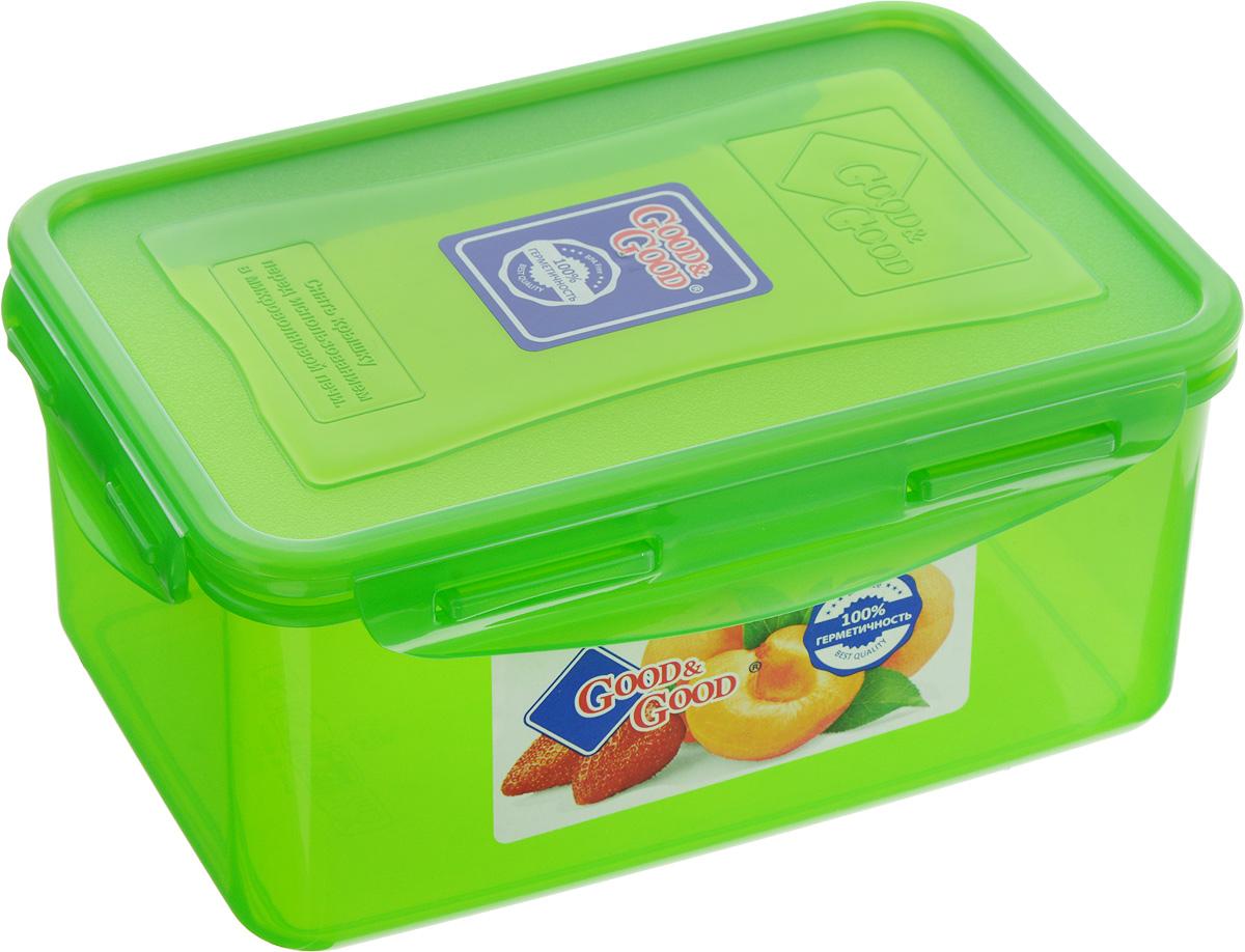 Контейнер для пищевых продуктов Good&Good, цвет: зеленый, 1,5 л3-2/COLORS_зеленыйКонтейнер Good&Good, изготовленный из высококачественного полипропилена, предназначен для хранения любых пищевых продуктов. Крышка с силиконовой вставкой герметично защелкивается специальным механизмом. Изделие устойчиво к воздействию масел и жиров, легко моется. Контейнер имеет возможность хранения продуктов глубокой заморозки, обладает высокой прочностью. Контейнер Good&Good удобен для ежедневного использования в быту. Можно мыть в посудомоечной машине и использовать в холодильнике и микроволновой печи. Размер контейнера (с учетом крышки): 13,5 х 20 х 9 см.