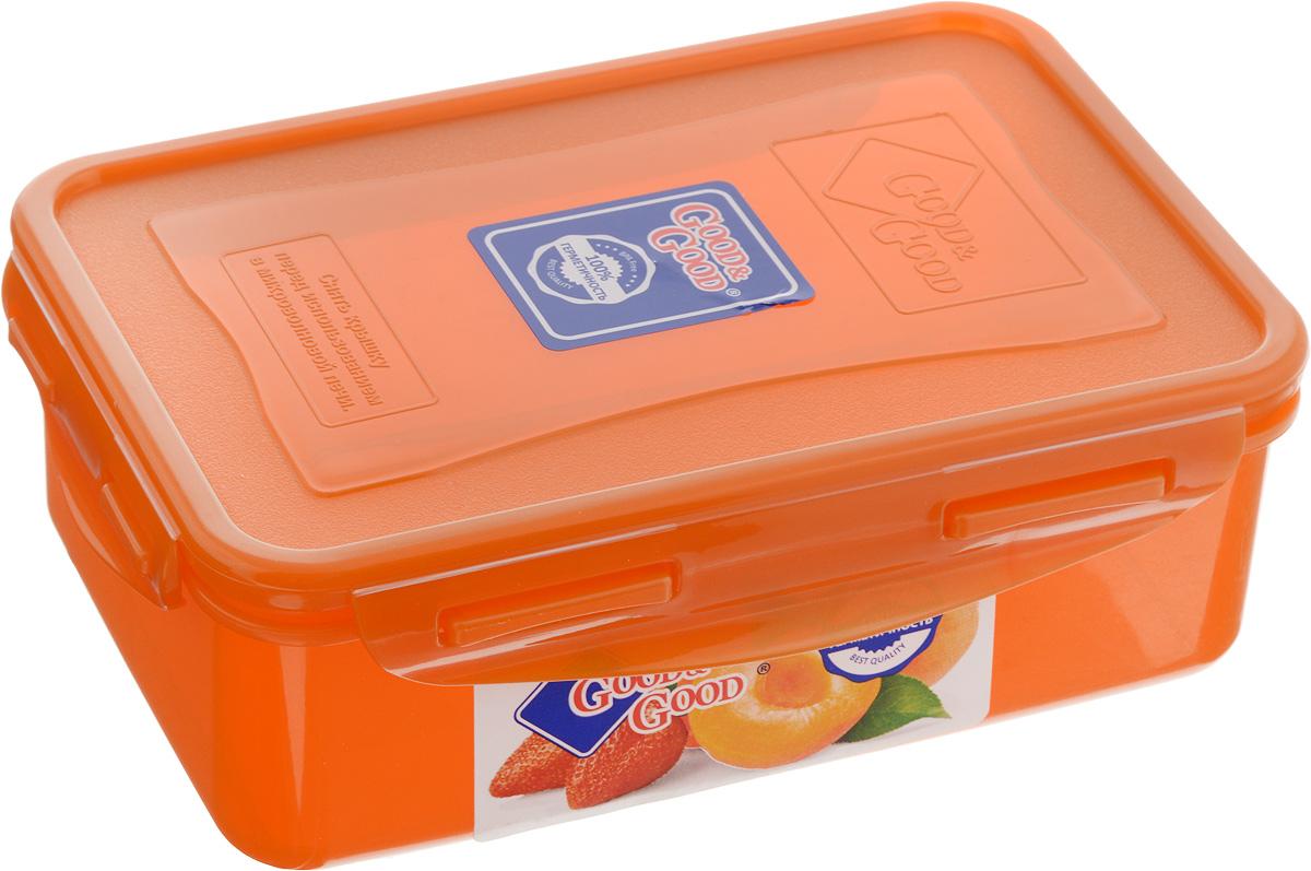 Контейнер пищевой Good&Good, цвет: оранжевый, 1,1 л3-1/COLORS_оранжевыйПрямоугольный контейнер Good&Good изготовлен из высококачественного полипропилена и предназначен для хранения любых пищевых продуктов. Благодаря особым технологиям изготовления, лотки в течение времени службы не меняют цвет и не пропитываются запахами. Крышка с силиконовой вставкой герметично защелкивается специальным механизмом. Контейнер Good&Good удобен для ежедневного использования в быту. Можно мыть в посудомоечной машине и использовать в микроволновой печи. Размер контейнера (с учетом крышки): 20 х 13,5 х 6,5 см.