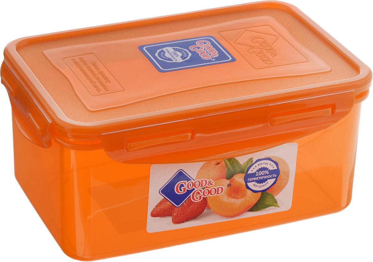 Контейнер для пищевых продуктов Good&Good, цвет: оранжевый, 1,5 л3-2/COLORS_оранжевыйКонтейнер Good&Good, изготовленный из высококачественного полипропилена, предназначен для хранения любых пищевых продуктов. Крышка с силиконовой вставкой герметично защелкивается специальным механизмом. Изделие устойчиво к воздействию масел и жиров, легко моется. Контейнер имеет возможность хранения продуктов глубокой заморозки, обладает высокой прочностью. Контейнер Good&Good удобен для ежедневного использования в быту. Можно мыть в посудомоечной машине и использовать в холодильнике и микроволновой печи. Размер контейнера (с учетом крышки): 13,5 х 20 х 9 см.