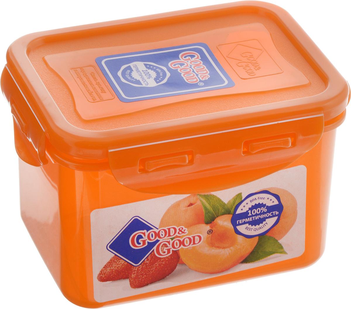 Контейнер пищевой Good&Good, цвет: оранжевый, 630 мл02-2/COLORSПрямоугольный контейнер Good&Good изготовлен из высококачественного полипропилена и предназначен для хранения любых пищевых продуктов. Благодаря особым технологиям изготовления, лотки в течение времени службы не меняют цвет и не пропитываются запахами. Крышка с силиконовой вставкой герметично защелкивается специальным механизмом. Контейнер Good&Good удобен для ежедневного использования в быту. Можно мыть в посудомоечной машине и использовать в микроволновой печи. Размер контейнера (с учетом крышки): 13 х 10 х 8,5 см.