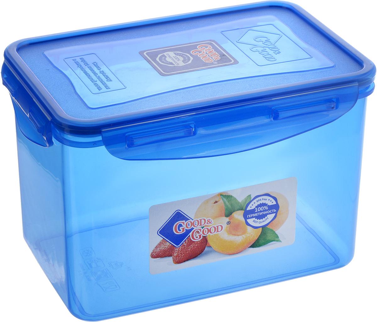 Контейнер пищевой Good&Good, цвет: синий, 2,2 л3-3/COLORS_синийПрямоугольный контейнер Good&Good изготовлен из высококачественного полипропилена и предназначен для хранения любых пищевых продуктов. Благодаря особым технологиям изготовления, лотки в течение времени службы не меняют цвет и не пропитываются запахами. Крышка с силиконовой вставкой герметично защелкивается специальным механизмом. Контейнер Good&Good удобен для ежедневного использования в быту. Можно мыть в посудомоечной машине и использовать в микроволновой печи. Размер контейнера (с учетом крышки): 20 х 13,5 х 13 см.