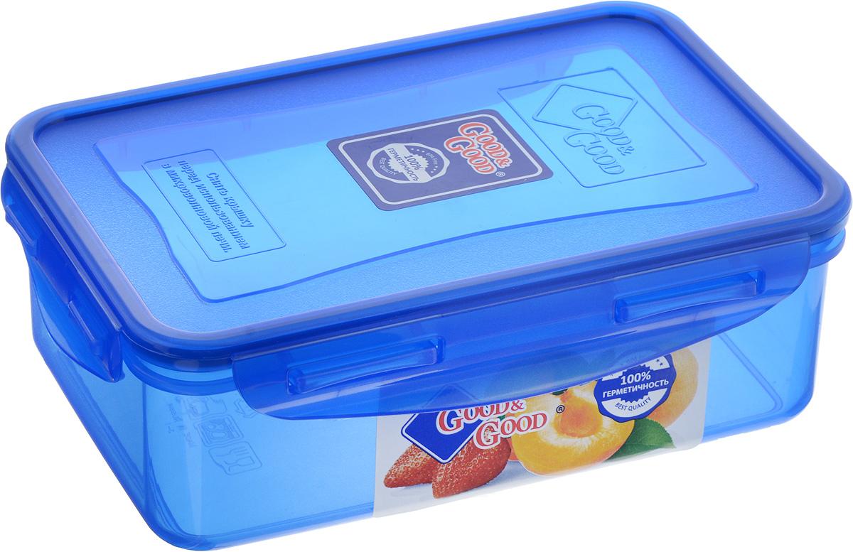 Контейнер пищевой Good&Good, цвет: синий, 1,1 л3-1/COLORS_синийПрямоугольный контейнер Good&Good изготовлен из высококачественного полипропилена и предназначен для хранения любых пищевых продуктов. Благодаря особым технологиям изготовления, лотки в течение времени службы не меняют цвет и не пропитываются запахами. Крышка с силиконовой вставкой герметично защелкивается специальным механизмом. Контейнер Good&Good удобен для ежедневного использования в быту. Можно мыть в посудомоечной машине и использовать в микроволновой печи. Размер контейнера (с учетом крышки): 20 х 13,5 х 6,5 см.