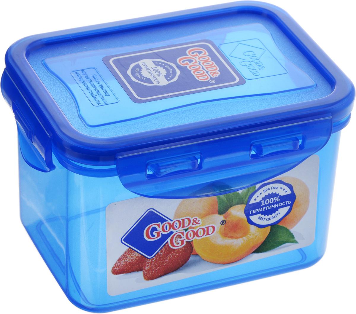 Контейнер пищевой Good&Good, цвет: синий, 630 мл02-2/COLORS_синийПрямоугольный контейнер Good&Good изготовлен из высококачественного полипропилена и предназначен для хранения любых пищевых продуктов. Благодаря особым технологиям изготовления, лотки в течение времени службы не меняют цвет и не пропитываются запахами. Крышка с силиконовой вставкой герметично защелкивается специальным механизмом. Контейнер Good&Good удобен для ежедневного использования в быту. Можно мыть в посудомоечной машине и использовать в микроволновой печи. Размер контейнера (с учетом крышки): 13 х 10 х 8,5 см.