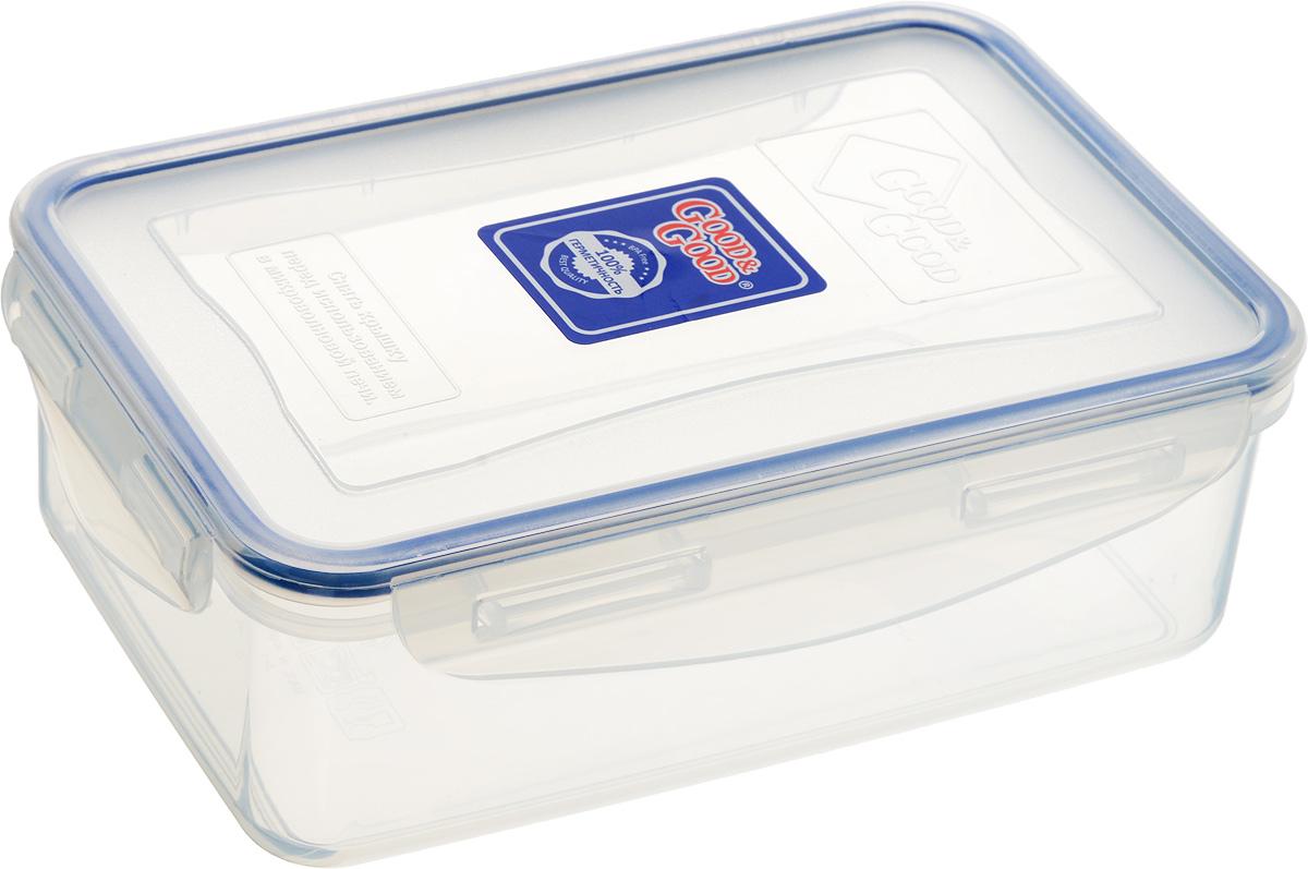 Контейнер для пищевых продуктов Good&Good, 1,1 л3-1/COLORS_прозрачный, синийКонтейнер Good&Good, изготовленный из высококачественного полипропилена, предназначен для хранения любых пищевых продуктов. Крышка с силиконовой вставкой герметично защелкивается специальным механизмом. Изделие устойчиво к воздействию масел и жиров, легко моется. Контейнер имеет возможность хранения продуктов глубокой заморозки, обладает высокой прочностью. Контейнер Good&Good удобен для ежедневного использования в быту. Можно мыть в посудомоечной машине и использовать в холодильнике и микроволновой печи. Размер контейнера (с учетом крышки): 13,5 х 20 х 7 см.