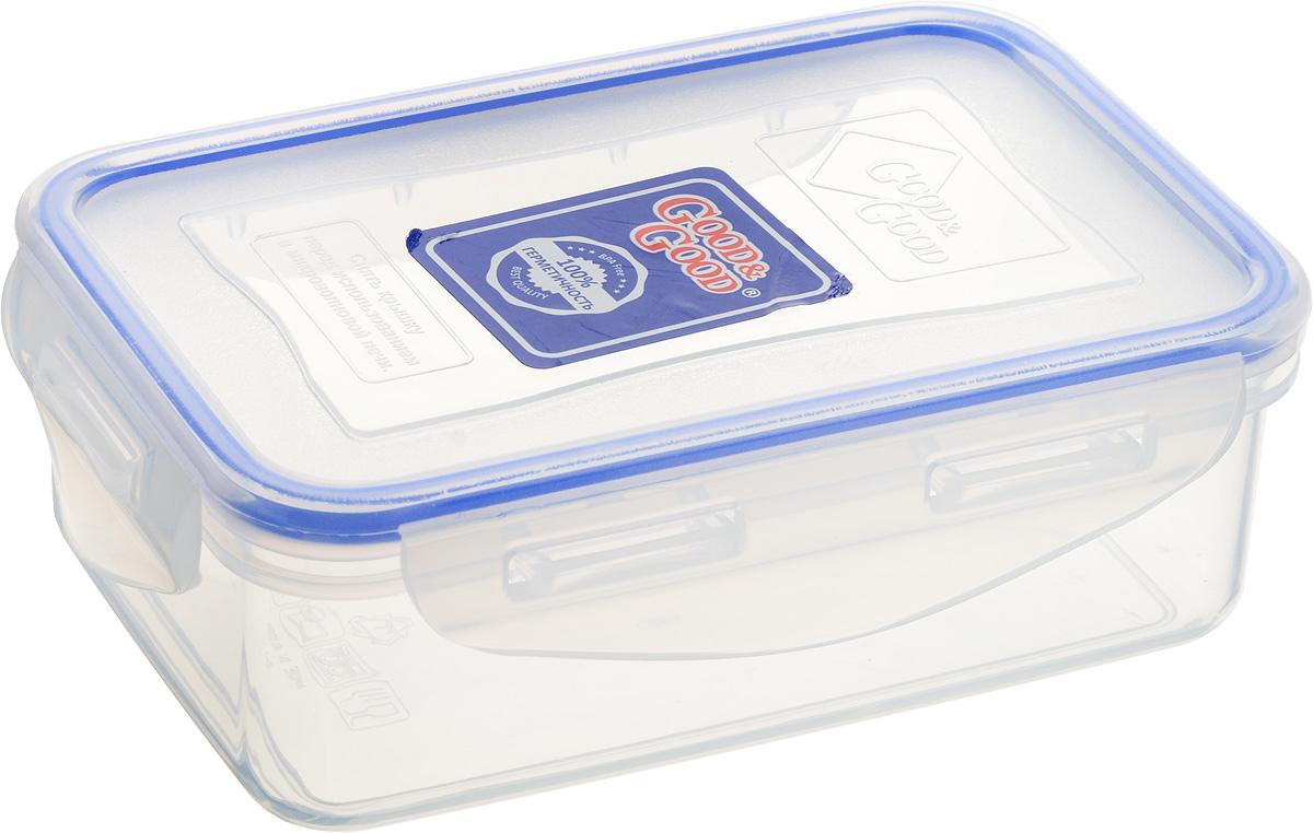 Контейнер пищевой Good&Good, цвет: прозрачный, темно-синий, 500 мл2-1Прямоугольный контейнер Good&Good изготовлен из высококачественного полипропилена и предназначен для хранения любых пищевых продуктов. Благодаря особым технологиям изготовления, лотки в течение времени службы не меняют цвет и не пропитываются запахами. Крышка с силиконовой вставкой герметично защелкивается специальным механизмом. Контейнер Good&Good удобен для ежедневного использования в быту. Можно мыть в посудомоечной машине и использовать в микроволновой печи. Размер контейнера (с учетом крышки): 160 х 11 х 5,5 см.