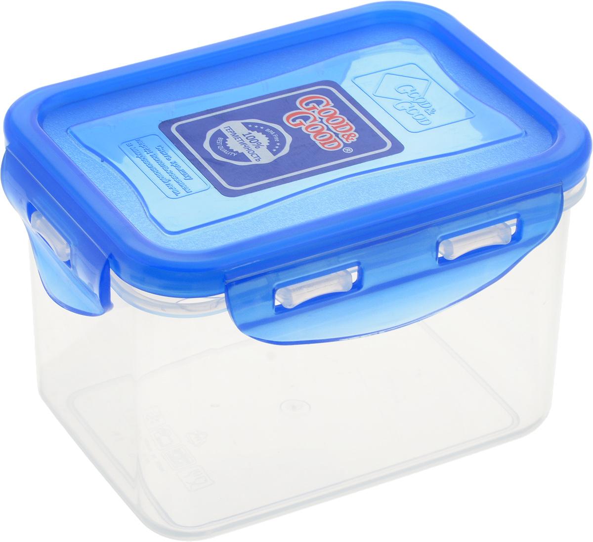 Контейнер пищевой Good&Good, цвет: прозрачный, синий, 630 мл02-2/LIDCOLПрямоугольный контейнер Good&Good изготовлен из высококачественного полипропилена и предназначен для хранения любых пищевых продуктов. Благодаря особым технологиям изготовления, лотки в течение времени службы не меняют цвет и не пропитываются запахами. Крышка с силиконовой вставкой герметично защелкивается специальным механизмом. Контейнер Good&Good удобен для ежедневного использования в быту. Можно мыть в посудомоечной машине и использовать в микроволновой печи. Размер контейнера (с учетом крышки): 13 х 10 х 8,5 см.