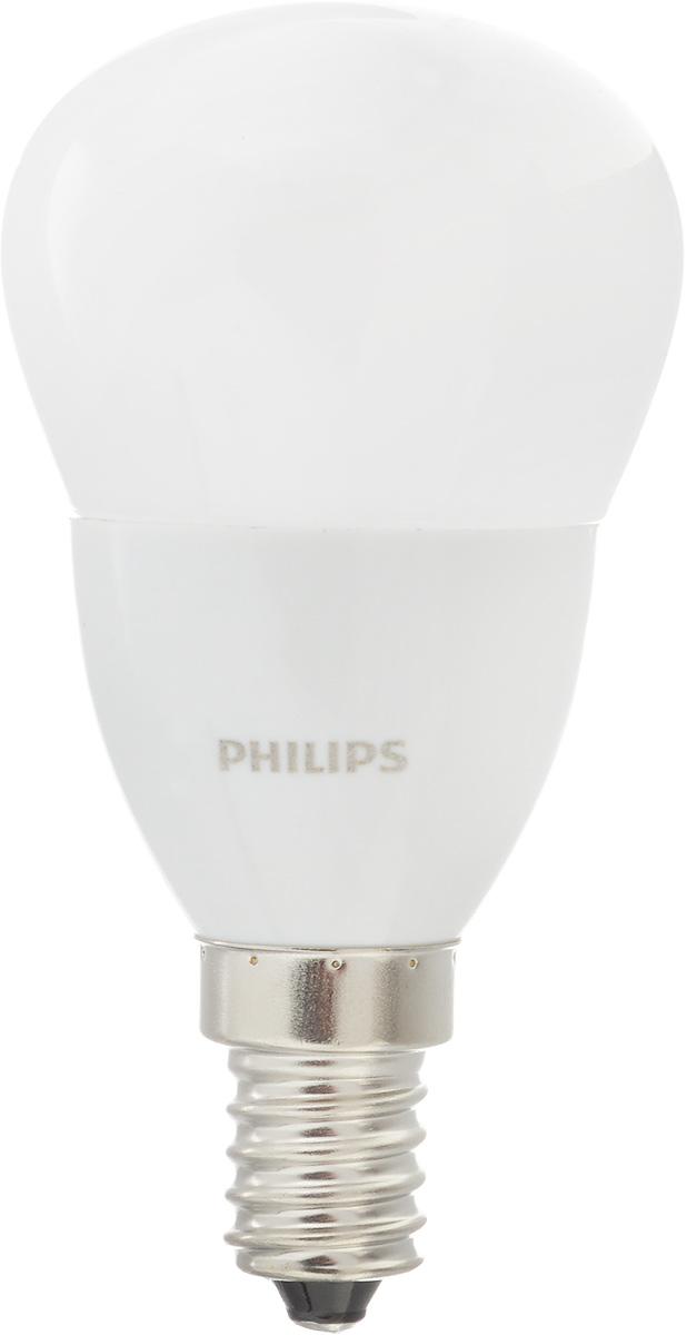 Лампа светодиодная Philips CorePro LEDluster, цоколь E14, 5,5W, 4000KCorePro lustre ND 5.5-40W E14 840 P45 FRСовременные светодиодные лампы CorePro LEDluster экономичны, имеют долгий срок службы и мгновенно загораются, заполняя комнату светом. Лампа классической формы и высокой яркости позволяет создать уютную и приятную обстановку в любой комнате вашего дома. Светодиодные лампы потребляют на 90 % меньше электроэнергии, чем обычные лампы накаливания, излучая при этом привычный и приятный теплый свет. Срок службы светодиодной лампы CorePro LEDluster составляет до 15 000 часов, что соответствует общему сроку службы пятнадцати ламп накаливания. Благодаря чему менять лампы приходится значительно реже, что сокращает количество отходов. Напряжение: 220-240 В. Световой поток: 520 lm. Эквивалент мощности в ваттах: 40 Вт.