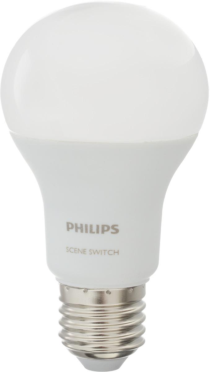 Лампа светодиодная Philips Scene Switch, цоколь E27, 9.5W, 3000K/6500К0822Лампа светодиодная Philips Scene Switch - это прекрасный выбор для освещения. Смена температуры света простым нажатием на переключатель порадует своей функциональностью и не потребует никакой дополнительной доработки. Если вы решили дома поработать или устроить уборку, что требует повышенной контрастности освещения, включите и выключите ваш переключатель, и при следующем включении лампа будет светить холодным светом (6500K), что идеально подходит для этих задач. Если вы желаете уюта теплого света, просто повторите процедуру, и лампа будет светить приятным теплым светом (3000K) для идеального отдыха. Светодиодные лампы потребляют на 84 % меньше электроэнергии, чем обычные лампы накаливания, излучая при этом привычный и приятный свет. Срок службы светодиодной лампы LED bulb составляет до 15 000 часов, что соответствует общему сроку службы пятнадцати ламп накаливания. Благодаря чему менять лампы приходится значительно реже, что сокращает количество...