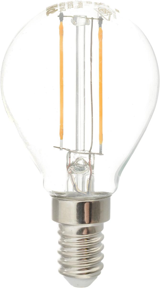 Лампа светодиодная Philips LED bulb, цоколь E14, 2W, 2700KЛампа LEDClassic 2-25W P45 E14 WW CL APRСовременные светодиодные лампы LED bulb экономичны, имеют долгий срок службы и мгновенно загораются, заполняя комнату светом. Лампа классической формы и высокой яркости позволяет создать уютную и приятную обстановку в любой комнате вашего дома. Светодиодные лампы потребляют на 92 % меньше электроэнергии, чем обычные лампы накаливания, излучая при этом привычный и приятный теплый свет. Срок службы светодиодной лампы LED bulb составляет до 15 000 часов, что соответствует общему сроку службы пятнадцати ламп накаливания. Благодаря чему менять лампы приходится значительно реже, что сокращает количество отходов. Напряжение: 220-240 В. Световой поток: 250 lm. Эквивалент мощности в ваттах: 25 Вт.