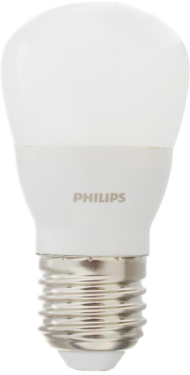 Лампа светодиодная Philips LED bulb, цоколь E27, 4W, 3000KЛампа LEDBulb 4-40W E27 3000K 230V P45Современные светодиодные лампы LED bulb экономичны, имеют долгий срок службы и мгновенно загораются, заполняя комнату светом. Лампа классической формы и высокой яркости позволяет создать уютную и приятную обстановку в любой комнате вашего дома. Светодиодные лампы потребляют на 90 % меньше электроэнергии, чем обычные лампы накаливания, излучая при этом привычный и приятный свет. Срок службы светодиодной лампы LED bulb составляет до 15 000 часов, что соответствует общему сроку службы пятнадцати ламп накаливания. Благодаря чему менять лампы приходится значительно реже, что сокращает количество отходов. Напряжение: 220-240 В. Световой поток: 350 lm. Эквивалент мощности в ваттах: 40 Вт.