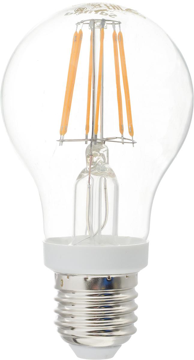 Лампа светодиодная Philips, цоколь E27, 7,5W, 2700КЛампа LEDClassic 7.5-70W A60 E27 WW CLСовременные светодиодные лампы Philips экономичны, имеют долгий срок службы и мгновенно загораются, заполняя комнату светом. Лампа классической формы и высокой яркости позволяет создать уютную и приятную обстановку в любой комнате вашего дома. Светодиодные лампы потребляют на 89 % меньше электроэнергии, чем обычные лампы накаливания, излучая при этом привычный и приятный теплый свет. Срок службы светодиодной лампы Philips составляет до 15 000 часов, что соответствует общему сроку службы 15 ламп накаливания. В результате менять лампы приходится значительно реже, что сокращает количество отходов. Напряжение: 220-240 В. Световой поток: 806 lm. Угол светового пучка: 270°.