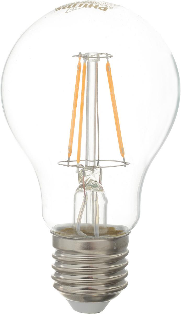 Лампа светодиодная Philips LED buld, цоколь E27, 4W, 2700К4195Современные светодиодные лампы Philips LED buld экономичны, имеют долгий срок службы и мгновенно загораются, заполняя комнату светом. Лампа классической формы и высокой яркости позволяет создать уютную и приятную обстановку в любой комнате вашего дома. Светодиодные лампы потребляют на 92 % меньше электроэнергии, чем обычные лампы накаливания, излучая при этом привычный и приятный теплый свет. Срок службы светодиодной лампы Philips составляет до 15 000 часов, что соответствует общему сроку службы 15 ламп накаливания. В результате менять лампы приходится значительно реже, что сокращает количество отходов. Напряжение: 220-240 В. Световой поток: 470 lm. Угол светового пучка: 270°.