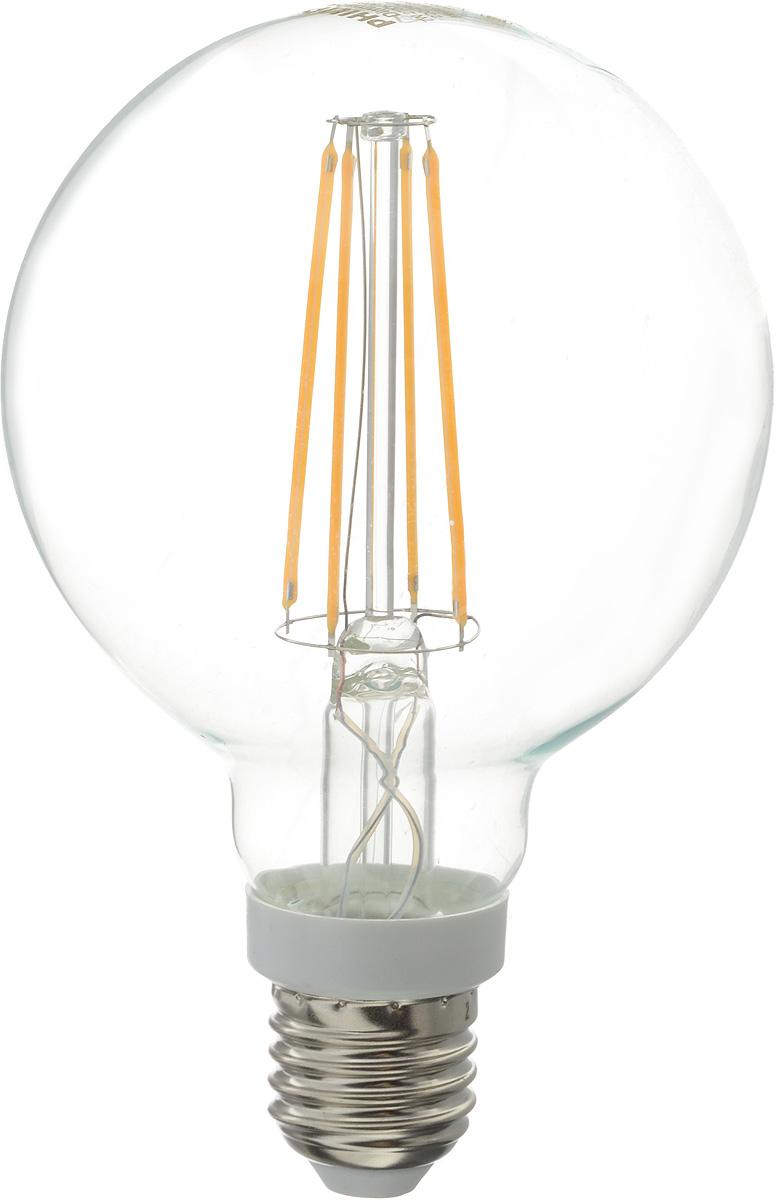 Лампа светодиодная Philips LED bulb, цоколь E27, 7W, 2700KЛампа LEDClassic 7-70W G93 E27 WW CL DСовременные светодиодные лампы LED bulb экономичны, имеют долгий срок службы и мгновенно загораются, заполняя комнату светом. Лампа классической формы и высокой яркости позволяет создать уютную и приятную обстановку в любой комнате вашего дома. Светодиодные лампы потребляют на 90 % меньше электроэнергии, чем обычные лампы накаливания, излучая при этом привычный и приятный теплый свет. Срок службы светодиодной лампы LED bulb составляет до 15 000 часов, что соответствует общему сроку службы пятнадцати ламп накаливания. Благодаря чему менять лампы приходится значительно реже, что сокращает количество отходов. Напряжение: 220-240 В. Световой поток: 806 lm. Эквивалент мощности в ваттах: 70 Вт.