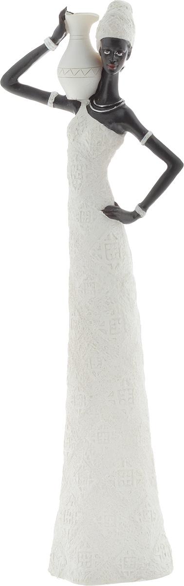 Фигурка декоративная Феникс-Презент Ашанти, цвет: белый, черный, высота 33 см43551Декоративная фигурка Феникс-Презент Ашанти, изготовленная из полирезина, выполнена в виде девушки с кувшином. Вы можете поставить фигурку в любом месте, где она будет удачно смотреться и радовать глаз. Сувенир отлично подойдет в качестве подарка близким или друзьям. Размер фигурки: 11 х 6,5 х 33 см.