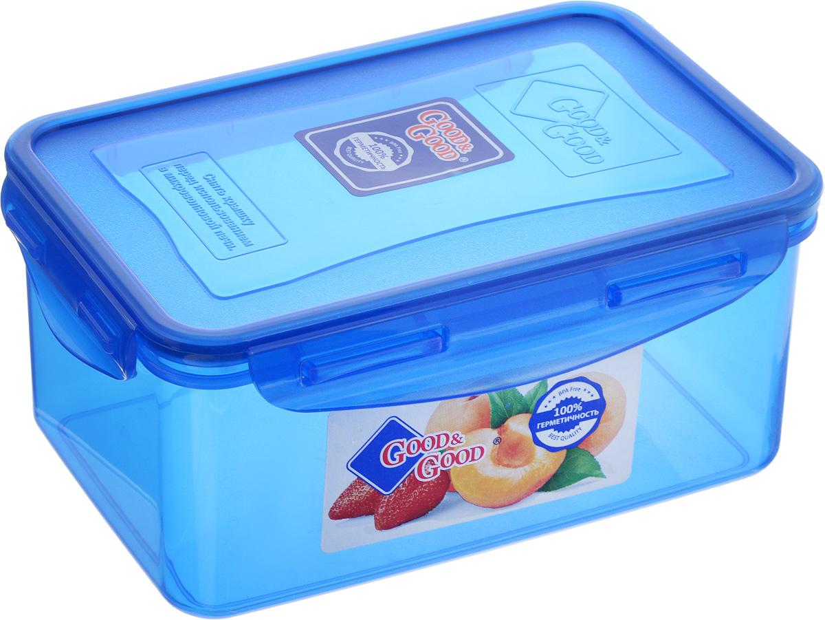 Контейнер пищевой Good&Good, цвет: синий, 800 мл2-2/COLORS_синийПрямоугольный контейнер Good&Good изготовлен из высококачественного полипропилена и предназначен для хранения любых пищевых продуктов. Благодаря особым технологиям изготовления, лотки в течение времени службы не меняют цвет и не пропитываются запахами. Крышка с силиконовой вставкой герметично защелкивается специальным механизмом. Контейнер Good&Good удобен для ежедневного использования в быту. Можно мыть в посудомоечной машине и использовать в микроволновой печи. Размер контейнера (с учетом крышки): 16 х 11 х 7,5 см.