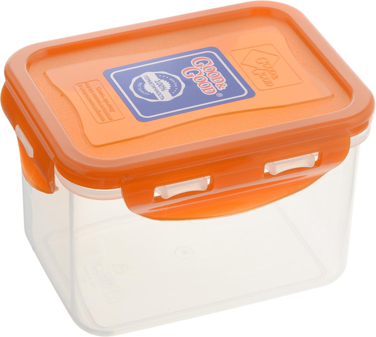 Контейнер пищевой Good&Good, цвет: прозрачный, оранжевый, 630 мл02-2/LIDCOL_прозрачный, оранжевыйПрямоугольный контейнер Good&Good изготовлен из высококачественного полипропилена и предназначен для хранения любых пищевых продуктов. Благодаря особым технологиям изготовления, лотки в течение времени службы не меняют цвет и не пропитываются запахами. Крышка с силиконовой вставкой герметично защелкивается специальным механизмом. Контейнер Good&Good удобен для ежедневного использования в быту. Можно мыть в посудомоечной машине и использовать в микроволновой печи. Размер контейнера (с учетом крышки): 13 х 10 х 8,5 см.